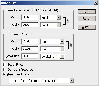Uključena opcija Resample Image