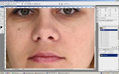Korekcije na licu upotrebom alatke Spot Healing Brush