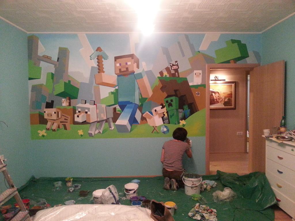 Poslednji radovi na Minecraft slikci na zidu