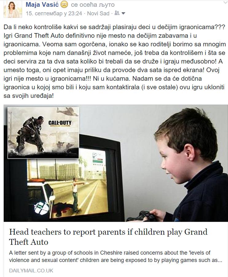 Status na Fejsbuku o i igti Grand Theft Auto